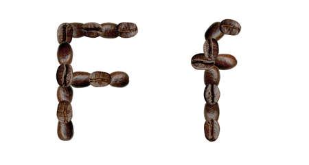 Alphabet symbol F from coffee beans. Illustration on white illustration