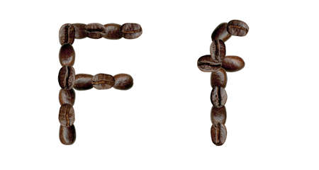 Alphabet symbol F from coffee beans. Illustration on white illustration