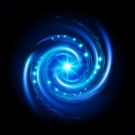 별과 푸른 나선형 소용돌이. 검은 배경에 그림