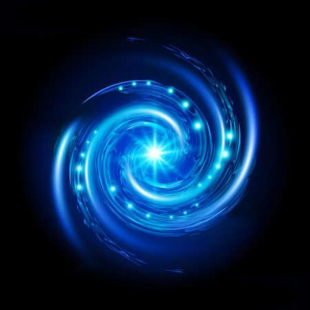나선: 별과 푸른 나선형 소용돌이. 검은 배경에 그림