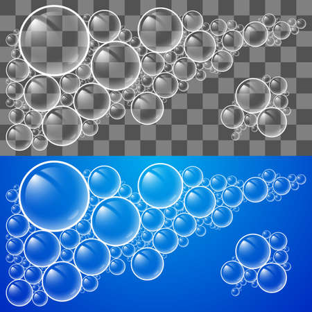 pompas de jabon: Enfriar Burbujas de jab�n transparente. Ilustraci�n para el dise�o