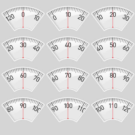 Illustration set of a Scale for a Weighing Machine Vector