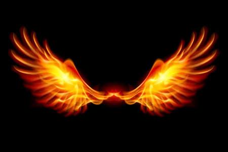 Wings in vlam en vuur. Illustratie op zwarte Vector Illustratie