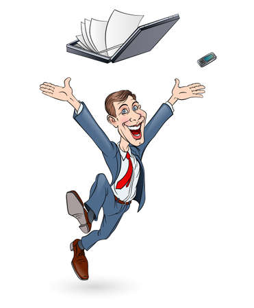 businessman jumping: Happy businessman jumping. Sketch on white background. In color Illustration