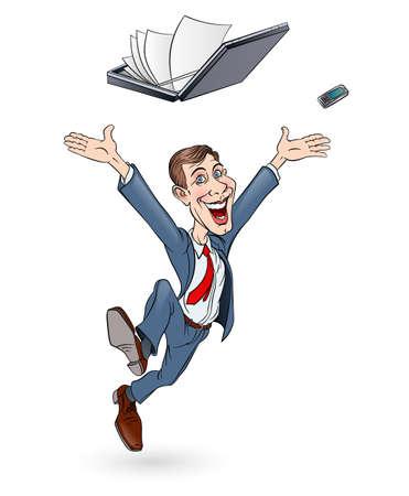 empresario: Hombre de negocios feliz saltando. Dibuje sobre fondo blanco. En color Vectores