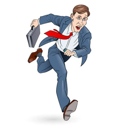 briefcase: Businessman Running To Work With Briefcase. Illustration on white. In Color. Illustration