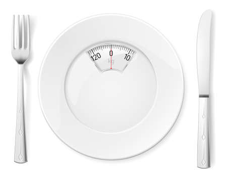 weighing scale: Plate with knife and fork and Scale for a Weighing Machine