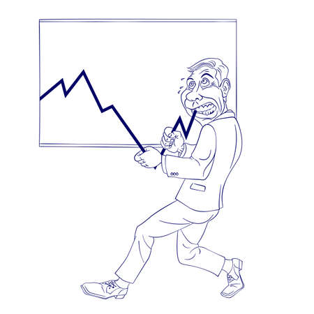 stock market chart: Illustration of a Businessman pushing the Graph Up on white