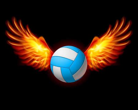 pelota de voley: Emblema con Volleyball Alas de Fuego. La ilustraci�n en negro