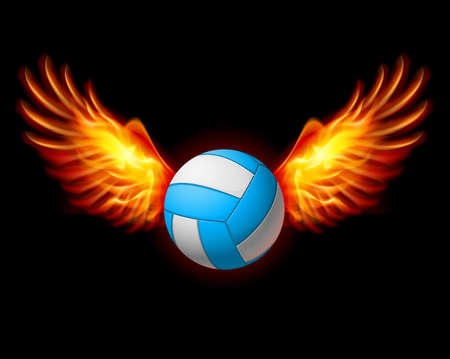 volley: Volleyball Emblem with Fire Wings. Illustration on black Illustration