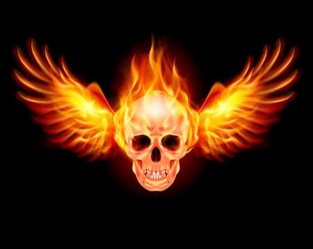 calavera caricatura: Flaming Skull con alas de fuego. La ilustraci�n en negro