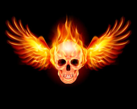Flaming Skull with Wings incendie. Illustration sur fond noir
