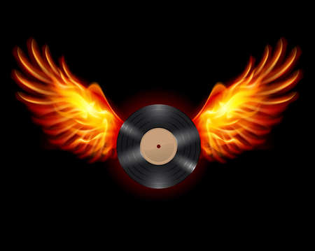 Flying Vinyl LP record, on wings of fire Vector