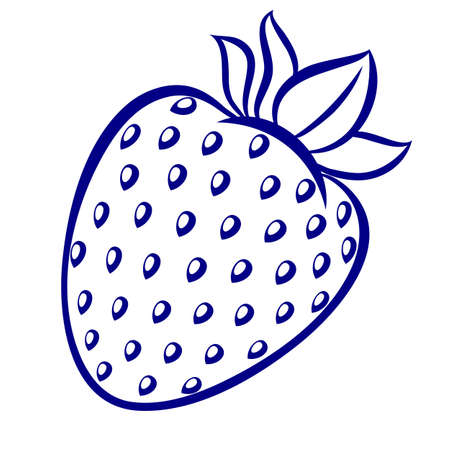 Strawberry, blue-and-white illustration on a white background