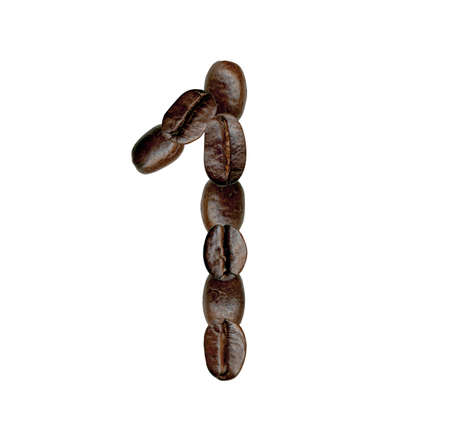 Number One from Coffee Beans  Illustration on white illustration