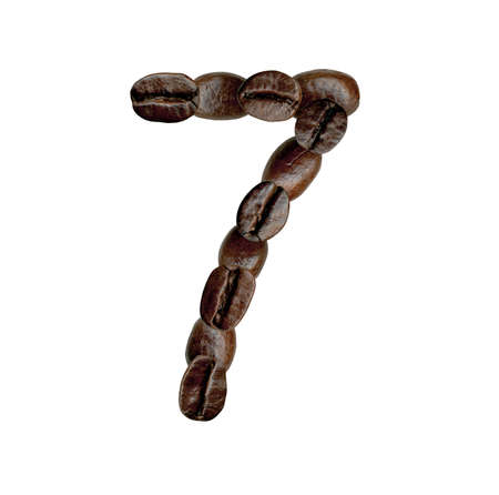numeration: Number Seven from Coffee Beans  Illustration on white Stock Photo