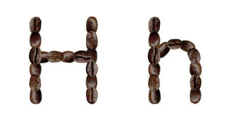 Alphabet symbol H from coffee beans. Illustration on white illustration