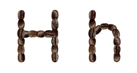 numeration: Alphabet symbol H from coffee beans. Illustration on white