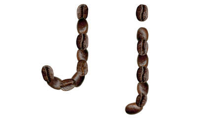 Alphabet symbol J from coffee beans. Illustration on white illustration