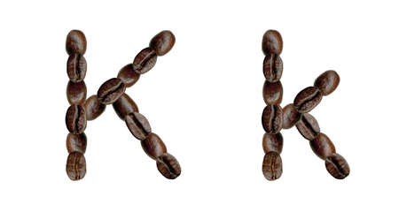 Alphabet symbol K from coffee beans. Illustration on white illustration