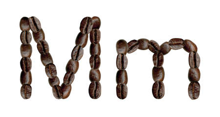 numeration: Alphabet symbol M from coffee beans. Illustration on white