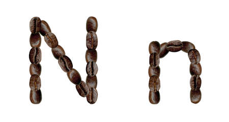 numeration: Alphabet symbol N from coffee beans. Illustration on white Stock Photo