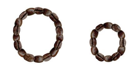 Alphabet symbol O from coffee beans. Illustration on white illustration