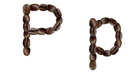 Alphabet symbol P from coffee beans. Illustration on white illustration