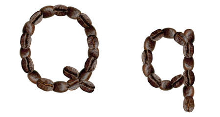 numeration: Alphabet symbol Q from coffee beans. Illustration on white Stock Photo
