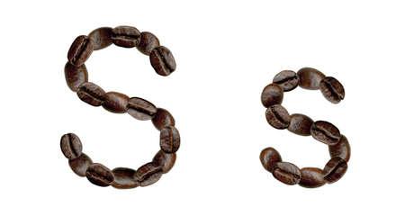 Alphabet symbol S from coffee beans. Illustration on white illustration
