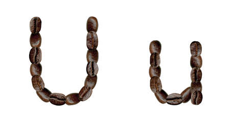 Alphabet symbol U from coffee beans. Illustration on white illustration