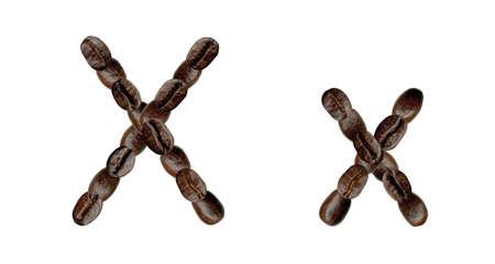 Alphabet symbol X from coffee beans. Illustration on white illustration