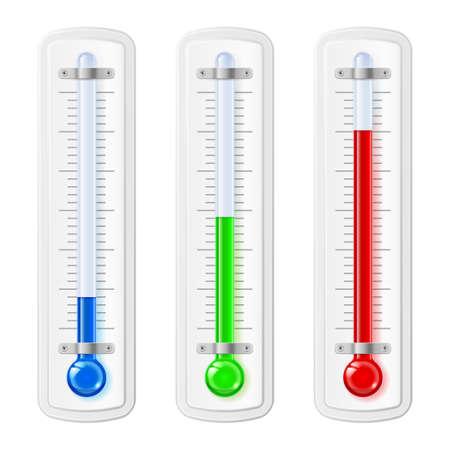 distal: Indicadores de temperatura, azul, verde, material plástico rojo sobre un fondo blanco