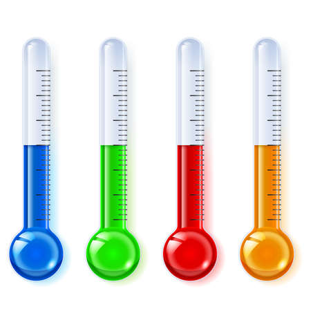 hot temperature: Temperature indicators, glassware, blue, green, red, orange, on a white background   Illustration
