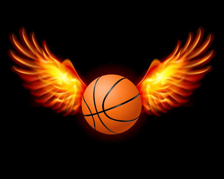 basketball ball in fire: Basketball-Fiery wings, a color illustration on a black background