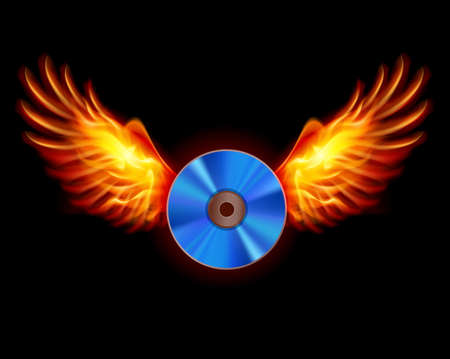Laser disc-Fiery wings, a color illustration on a black background Vector