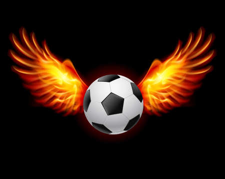 Football-Fiery wings, a color illustration on a black background Stock Vector - 15019305