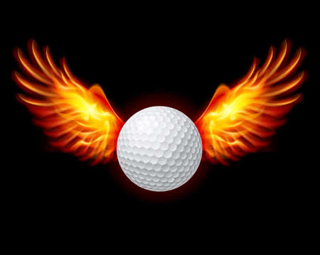 flame wings: Golf-Fiery wings, a color illustration on a black background Illustration