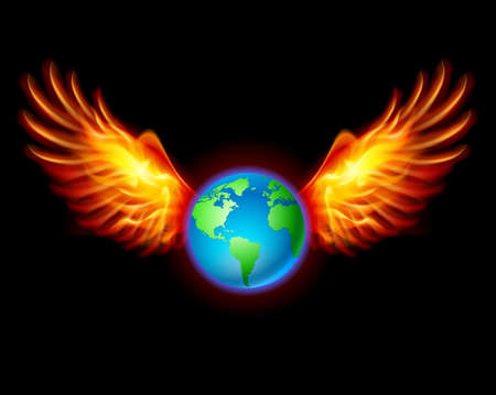red earth: Planet the Earth with fiery wings, a color illustration on a black background