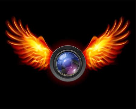 Macchina fotografica: Focus-Fiery ali, una illustrazione di colore su uno sfondo nero