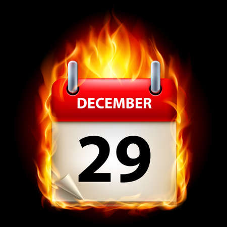 Twenty-ninth December in Calendar. Burning Icon on black background Stock Vector - 15019440