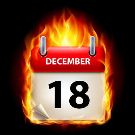 Eighteenth December in Calendar. Burning Icon on black background Vector
