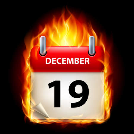 nineteenth: Nineteenth December in Calendar. Burning Icon on black background