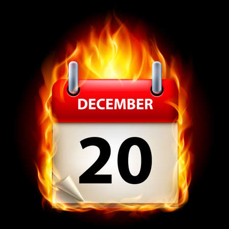 Twentieth December in Calendar. Burning Icon on black background Stock Vector - 15019398