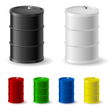 petroleum blue: Metal barrels set on white background for design Illustration
