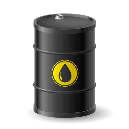 labelling: Black Oil Barrel. Illustration on white background