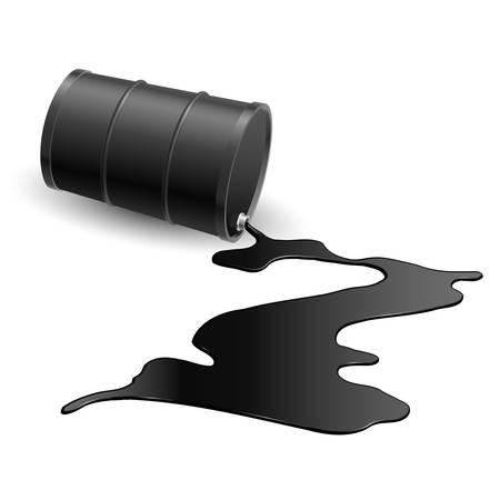 oil spill: Botte con versato liquido nero. Illustrazione su bianco