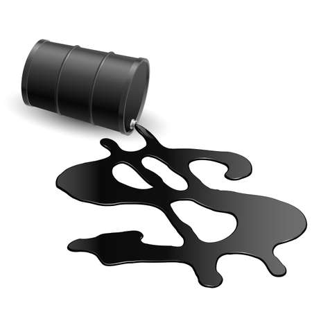 natural gas prices: Drum with spilled oil and a dollar symbol on white