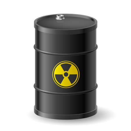 sustancias toxicas: Barril negro con una etiqueta de peligro radiactiva