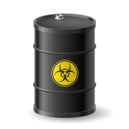 toxic barrels: Vertical barril negro Biohazard. Ilustraci�n en blanco